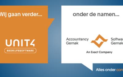 Exact introduceert nieuwe namen Unit4 Bedrijfssoftware-oplossingen: Accountancy Gemak en Software Gemak